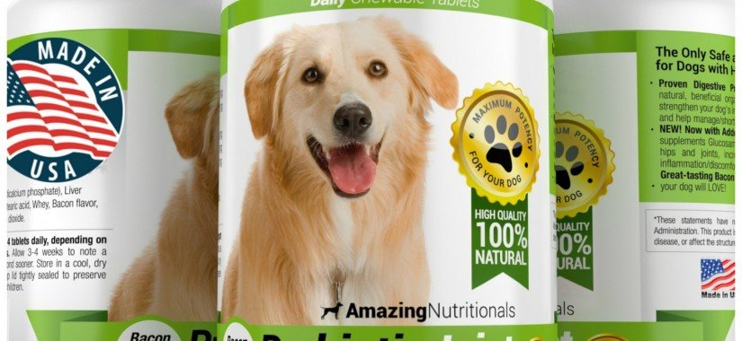 Amazing Probiotics for Dogs 100% Pure All-Natural – Easy, No Measuring, No Mess Probiotic Plus Joint Protection