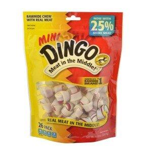 Dingo Brand Dog Rawhide Chews, Mini, White, 26 Count per Pack